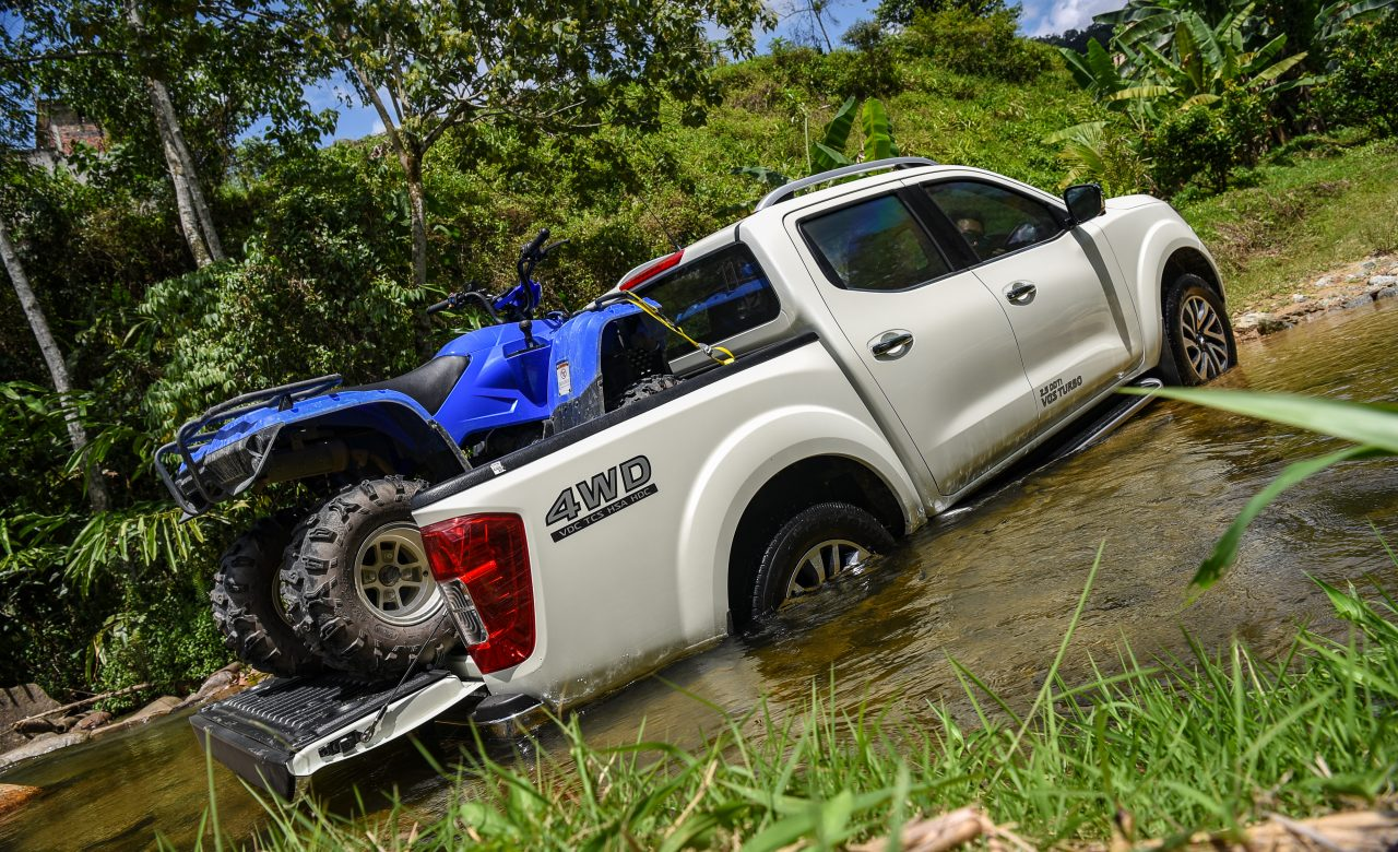 Nisson Go Anywhere in Malaysia Test Drive in river