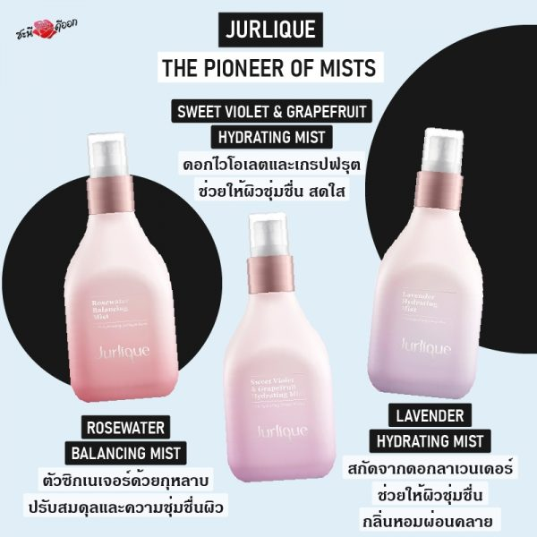 jurlique pioneer of mists 3 type : sweet violet & grapfruit Hydratuing mist,Lavender Hydrating mist,Rosewater Balancing mist